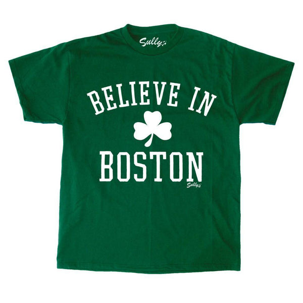 Celtics Theme Believe in Boston Green Shamrock T Shirt Size Small FREESHIP