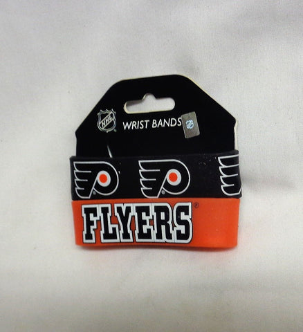 NHL Philadelphia Flyers 2 Pack Bracelet Wrist Bands Set Rubber PVC Type FREESHIP