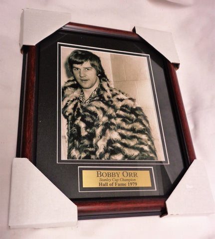 Boston Bruins 1970s Fur Coat Pimp Bobby Orr Framed Picture 13x16 FREESHIP