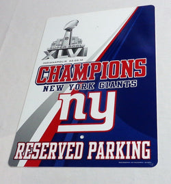 New York Giants Superbowl 46 World Champions Plastic Parking Sign 12x18 FREESHIP