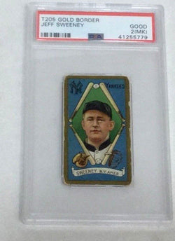 1911 Piedmont T205 Gold Border Jeff Sweeney PSA 2 MK New York Yankees Factory 25