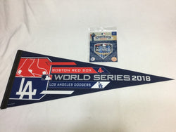 2018 World Series Boston Red Sox Los Angeles Dodgers Pennant & Patch Lot (WC)