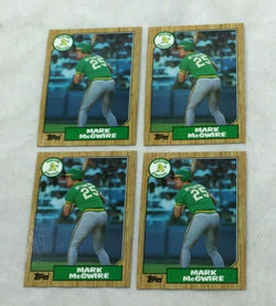 1987 Topps Baseball #366 Mark McGwire Rookie Rc 4 Card Lot FREESHIP