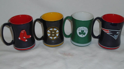 Patriots Boston Red Sox Bruins Celtics Coffee Mug Ceramic Relief Style Set of 4
