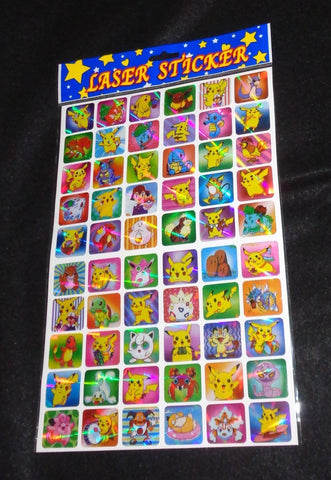 Pokemon Laser Holo Foil Sticker Sheet of 60 total New Sealed FREESHIP