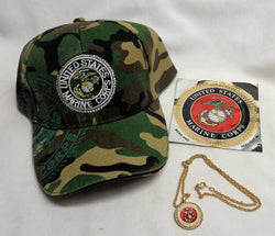 NEW US Marine Corps USMC Camo EGA Hat Cap Necklace Sticker Decal Lot FREESHIP