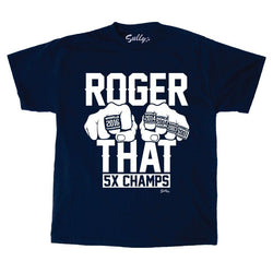 Roger That ! Patriots Champions Rings Tom Brady Blue T Shirt Mens Medium FREESP