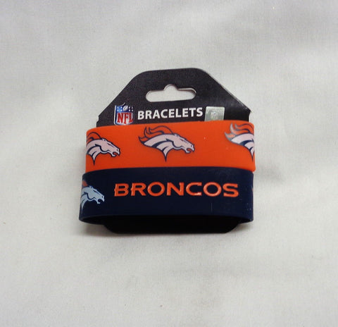 NFL Denver Broncos 2 Pack Bracelet Wrist Bands Set Rubber PVC Type FREESHIP