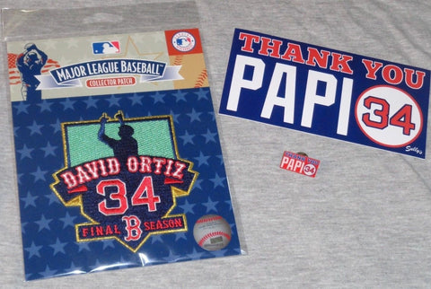 397d324d7 Boston Red Sox David Ortiz Final Season Jersey Patch Retirement Pin Sticker  Lot