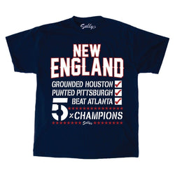 5 Time 5x Superbowl Team Checklist Patriots Champions T Shirt Mens XLarge