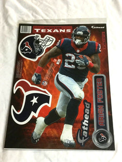 Fathead 17 Inch Sticker Wall Decal Set NFL Houston Texans Arian Foster FREESHIP