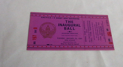 1981 Ronald Reagan George Bush President Inaugural Ball Full Ticket Election