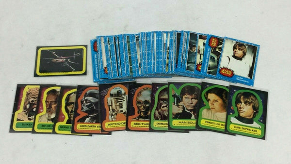 1977 Topps Star Wars Blue Series 1 Complete Set & 11 Sticker Set FREESHIP