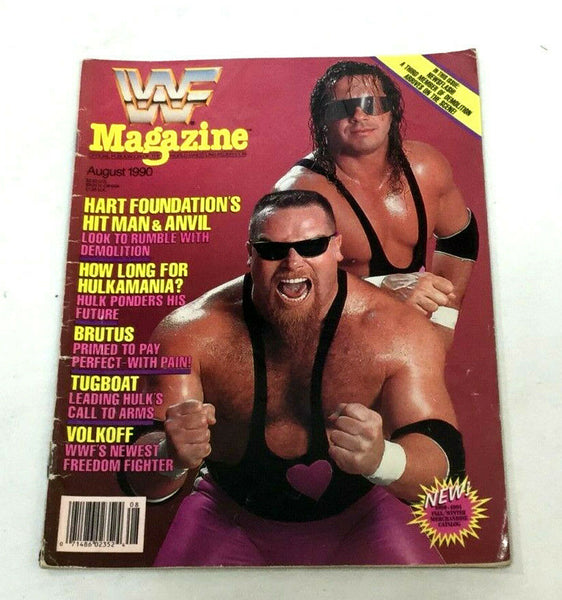 August 1990 WWF Magazine Book Hart Foundation Hitman & Anvil Cover FREESHP