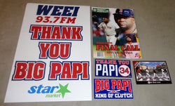 Boston Red Sox David Ortiz Thank You Papi Final Game Sticker Sign Program Lot