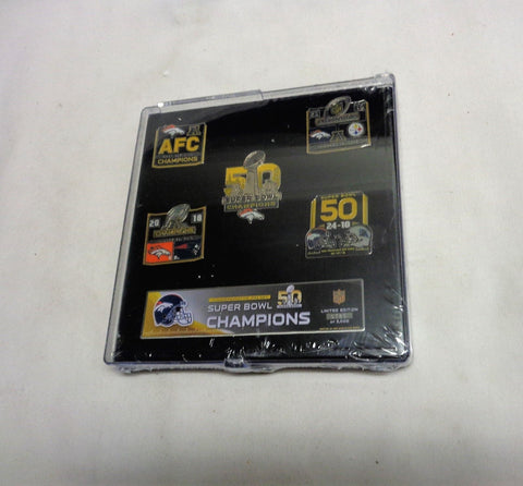 2016 Season Denver Broncos Super Bowl 50 World Champions 5 Pin Set FREESHIP