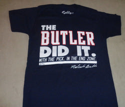NE Patriots Malcolm Butler The Butler Did It SuperBowl 49 Themed T Shirt Small