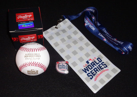2016 World Series Cubs Indians Rawlings Game Baseball Ticket Lanyard Pin Lot