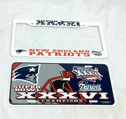 New England Patriots SuperBowl 36 World Champions License Plate & Frame RARE