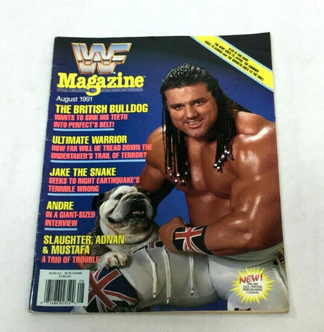August 1991 WWF Magazine Book British Bulldog / Warrior Jake Snake Cover FREESHP