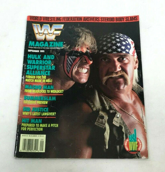 September 1991 WWF Magazine Book Hulk Hogan / Warrior Summer Slam Cover FREESHIP