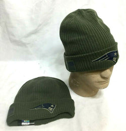 New England Patriots New Era Salute to the Military Knit Hat Beanie Army Green