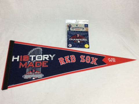 2018 World Series Champions Trophy Pennant Boston Red Sox & Champs Patch Lot