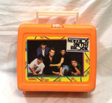 Vintage 1990 New Kids On The Block NKOTB Lunchbox Orange Thermos Complete RARE
