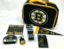 Boston Bruins Fan Back School Lunch Box Bag Pens Keychain Sticker Pennant Lot