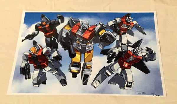 G1 Transformers Autobot Aerialbots Complete Team Poster 11x17 Sky Background