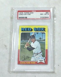 1975 Topps Mini Baseball #80 Boston Red Sox Carlton Fisk PSA 8 Card FREESHIP