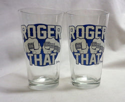 Roger That ! Patriots Champions Rings Tom Brady Pint Glass Pair Set FREESHIP