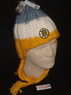 NHL Boston Bruins Old Time Hockey Epoch Knit Hat Tassles Sherpa Style FREESHIP