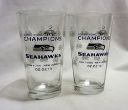 Seattle Seahawks 2014 Superbowl 48 World Champions Trophy Pint Glass Set FREESHP