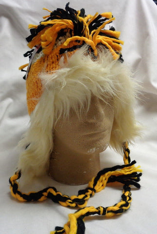 NHL Reebok Face Off Boston Bruins Mohawk Toque Knit Hat Fur Tassles FREESHIP