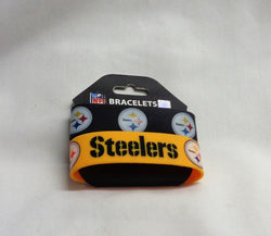 NFL Pittsburg Steelers 2 Pack Bracelet Wrist Bands Set Rubber PVC Type FREESHIP