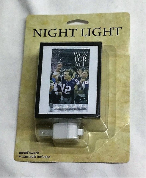 New England Patriots Tom Brady SuperBowl Champions Night Light Boston Globe
