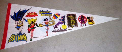 RARE 1975 Super Friends Hero Batman Robin Wonder Woman Joker Catwoman Pennant