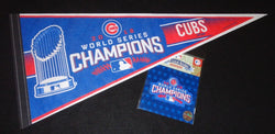 Chicago Cubs 2016 World Series Champions Trophy Pennant & Jersey Patch Lot