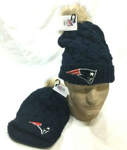 New England Patriots Winter Knit Cap Hat PomPom Women's Ladies Girls FREESHIP
