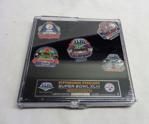 2009 Season Pittsburg Steelers Super Bowl 43 World Champions 5 Pin Set FREESHIP
