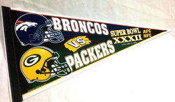 1997 Superbowl 32 Duel Pennant Green Bay Pakers Denver Broncos FREESHIP Elway