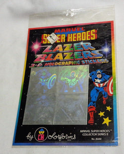 1983 Marvel Comics Spiderman Hulk Lazer Blazers 3-D Holographic Sticker Set