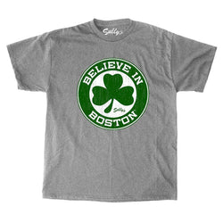 Celtics Theme Believe in Boston GREY Shamrock T Shirt Size Large FREESHIP
