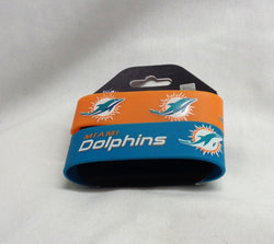 NFL Miami Dolphins 2 Pack Bracelet Wrist Bands Set Rubber PVC Type FREESHIP