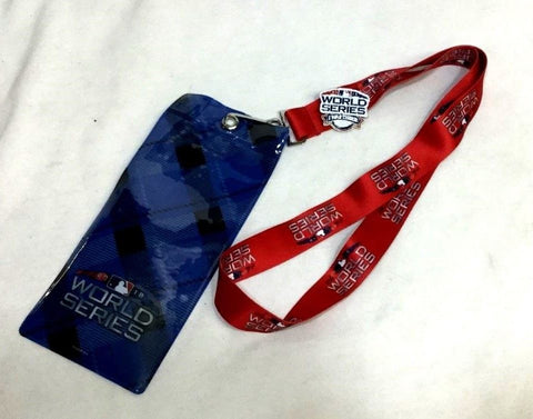 2018 World Series Ticket Lanyard Pin Boston Red Sox Los Angeles Dodgers Red Type