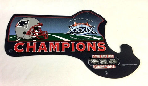 New England Patriots Superbowl 39 World Champions Plastic State Sign 12x14