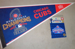 Chicago Cubs 2016 World Series Champions Trophy Pennant Jersey Patch Lot (V2)