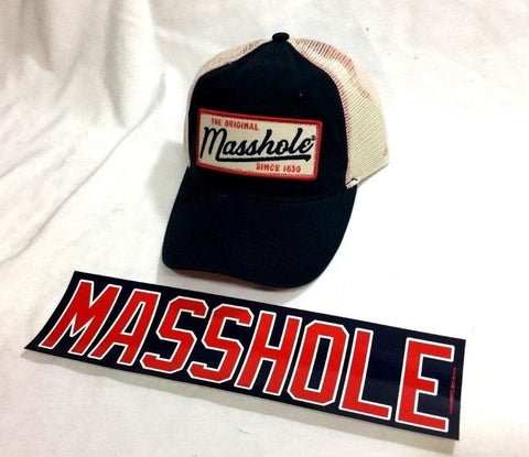 New England Boston Themed Masshole State Logo Truckers Hat Cap Sticker Decal Lot
