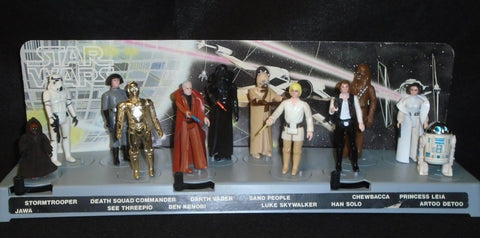 1977 Vintage Star Wars 12 Back Complete Figure Set Mail Display Stand Leia Luke